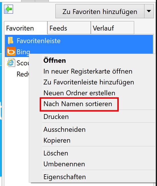 Im Internet Explorer Favoriten sortieren
