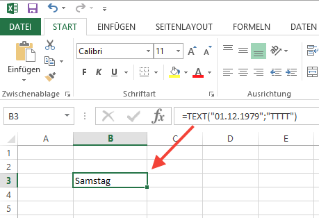 Anzeige des Wochentags zu einem Datum in Excel