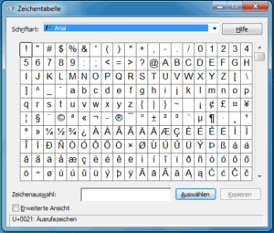 Zeichentabelle von Windows 7