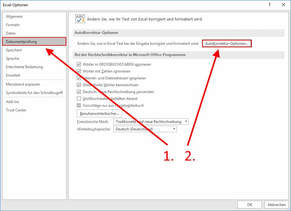 Excel - Autokorrektur-Optionen aufrufen