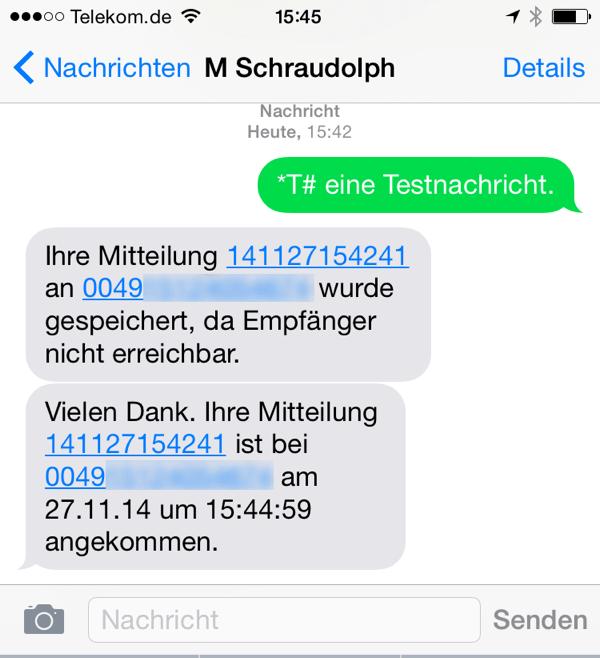 SMS-Empfangsbestätigung bei T-Online