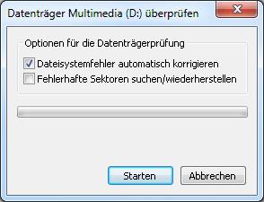 Datenträger überprüfen in Windows 7
