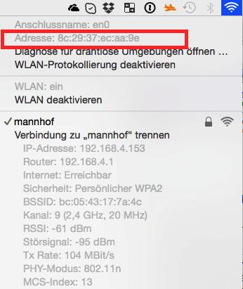 WLAN-Informationen auf dem Mac
