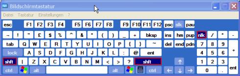 US-Tastatur - Shift gedrückt