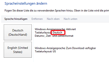 Win8 Tastaturlayout deutsch