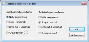 Dialog zum Ändern der Tastenkombination in Windows Vista