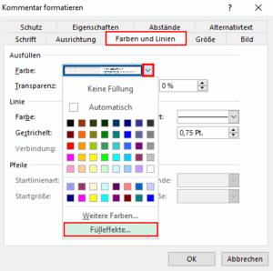 Excel Kommentare formatieren Farben und Linien