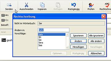 Outlook Express sucht nach Rechtschreibfehlern
