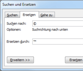 Word 2007 Suchen und Ersetzen Sonderzeichen