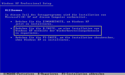 Win XP Boot mit Repair-Option