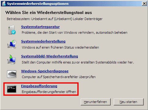 Windows 7 Wiederherstellungsoptionen