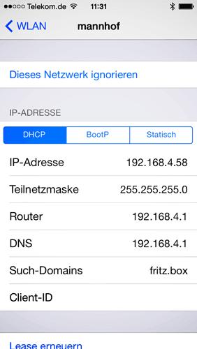Die IP-Adresse des iPhone in den Netzwerk-Einstellungen