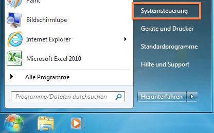 Startmenü von Windows 7 mit Systemsteuerung