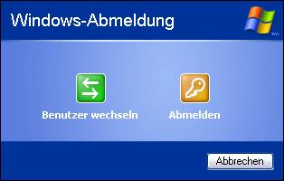 Dialog zum Benutzerwechsel in Windows XP