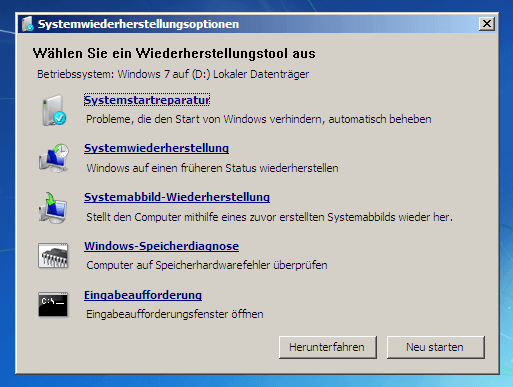 Systemwiederherstellungsoptionen Windows 7