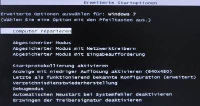 Erweiterte Startoptionen Windows 7