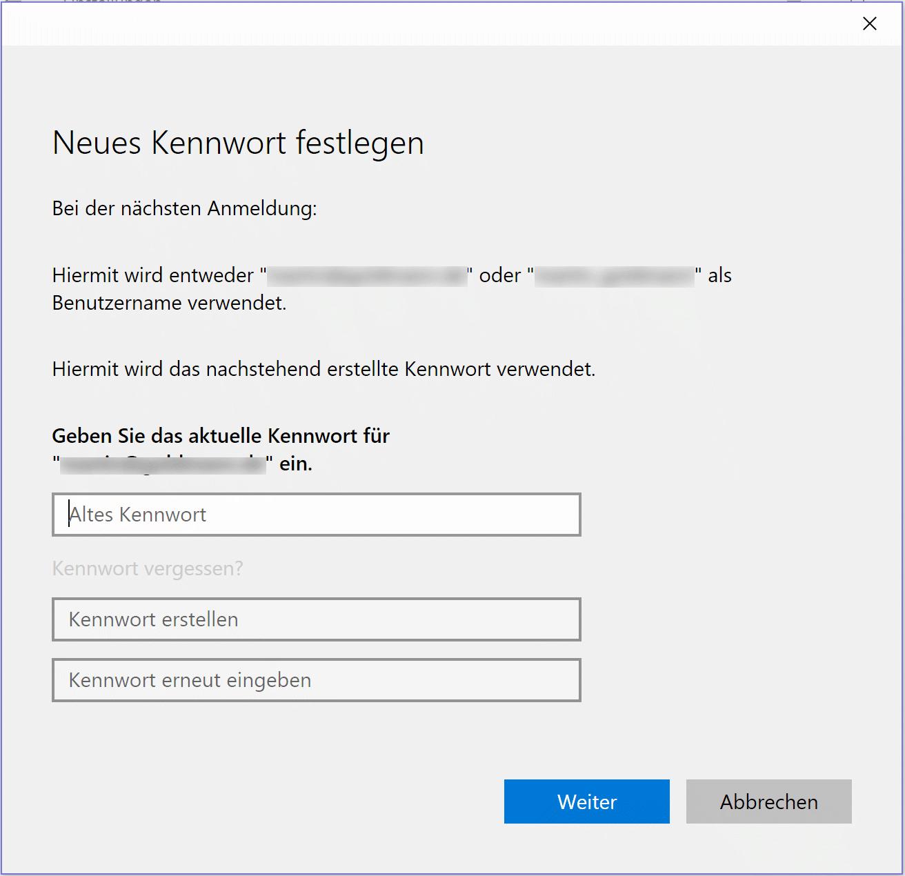Windows-Passwort ändern in Windows 10