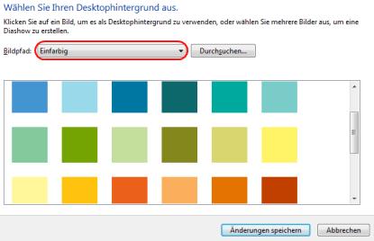 Windows 7 Farbauswahl Hintergrund