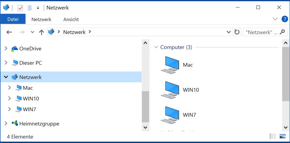 Computer und Server finden im Netzwerk