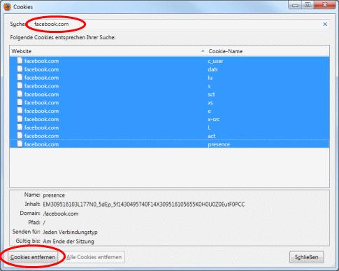Firefox Cookies zum entfernen markiert