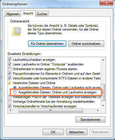 Versteckte Ordner und Dateien in Windows 7 anzeigen