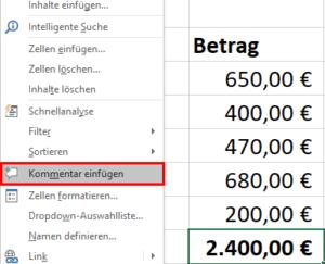 Excel - Kommentar einfügen