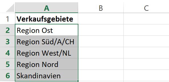 Excel Aufzähllisten - Werte aufnehmen