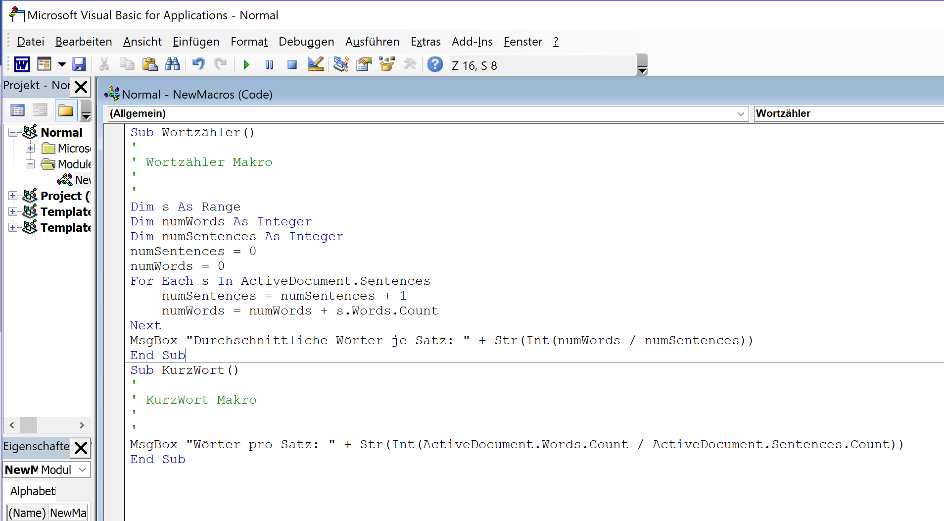 Makros programmieren in Word