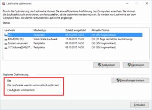 Startbildschirm Defragmentierung Windows 10