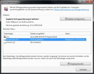Dialog zum Defragmentieren von Festplatten in Windows 7