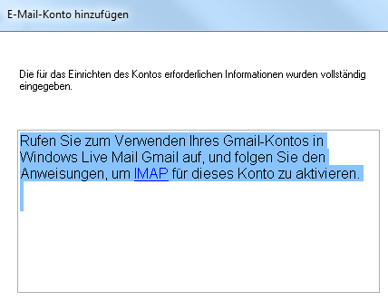 Windows Live Mail: Providerdaten ermittelt