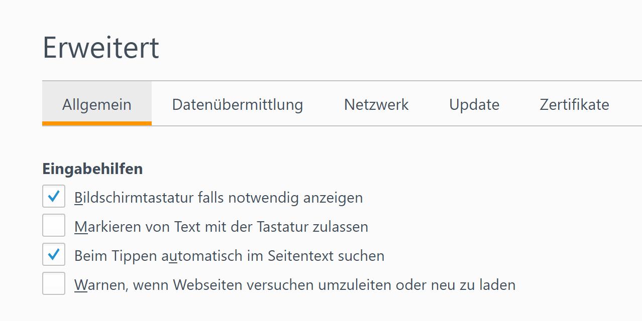 Schnellsuche im Firefox