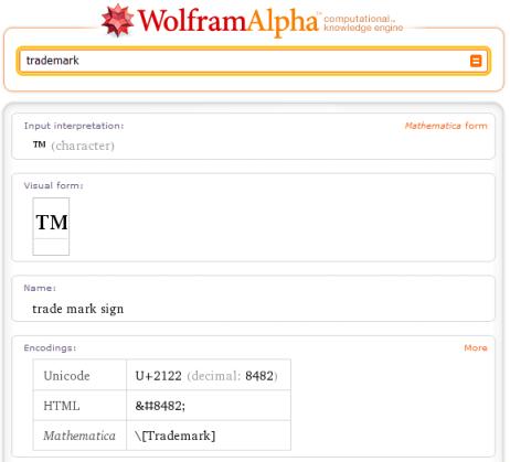 Wolfram Alpha Ausgabe für