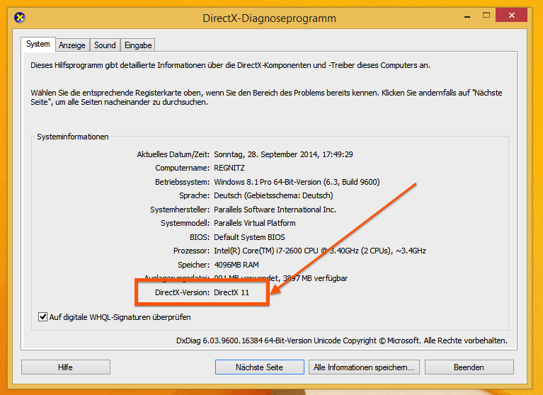 DirectX-Version herausfinden