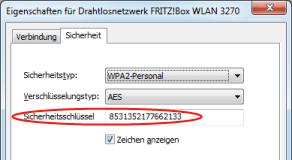Win7 WLAN-Schluessel anzeigen