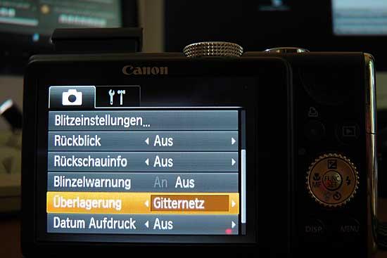 Menü zum Einschalten von Gitternetzlinien bei der Canon SX200 IS - (Foto: Martin Goldmann)