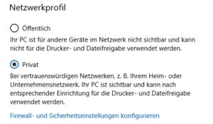 Windows 10 Netzwerkprofil