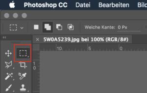 Das Auswahlwerkzeug findet sich in der Werkzeugleiste von Photoshop.
