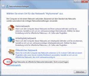 Win7 Rückfrage Netwzerktyp verhindern
