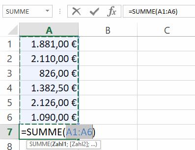 Excel - Summierung von Zellen