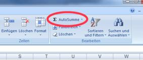 Autosumme Excel 2007