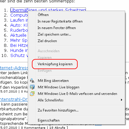Kontextmenü des Internet Explorer mit dem Eintrag Verknüpfung kopieren