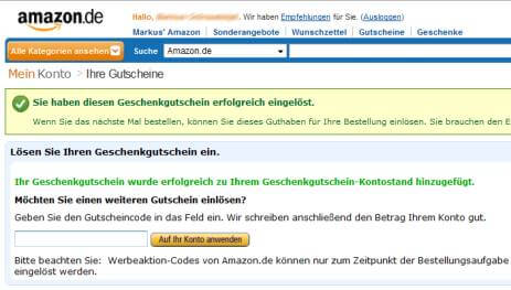 Amazon Payments Gutschein
