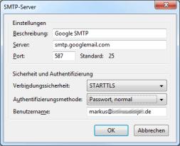 Einstellungen SMTP Thunderbird Googlemail