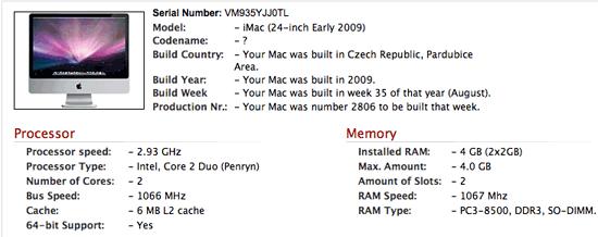 Information zu einem Apple-Computer anhand seiner Seriennummer