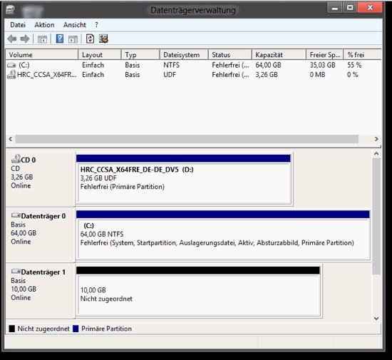 Datenträgerverwaltung von Windows 8