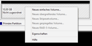 Menüpunkt Einfaches Volume erstellen
