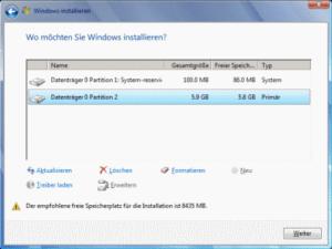 Win7 Formatieren mit Setup-DVD