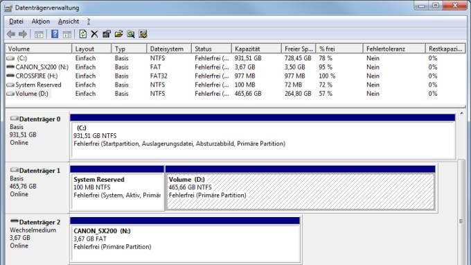 Datenträgerverwaltung Übersicht