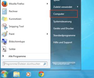 Windows 7 Startmenü mit Eintrag Computer